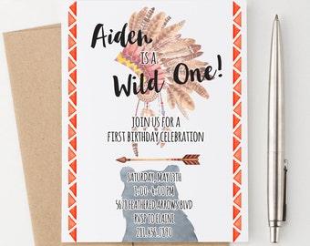 Bohemian Birthday Invitation, One year Birthday Invitations, Wild One Birthday Invitation, Boho Birthday Invitation, Wild One invites, BI001