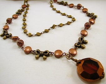 Copper and Antique Brass Double Chain Necklace