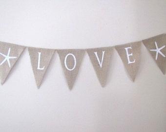 LOVE Starfish Glittered Burlap Banner