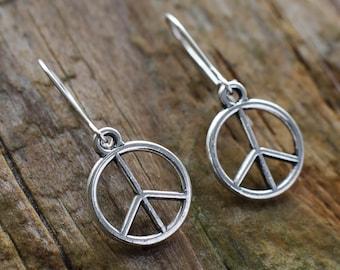 Peace earrings | Peace symbol sterling silver earrings | Peace sign drop earrings | Peace dangle earrings | Small lightweight peace jewelry