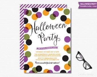 Halloween Invitation Printable Digital Halloween Party Confetti Polka Dots Kids Halloween Party Halloween Invite