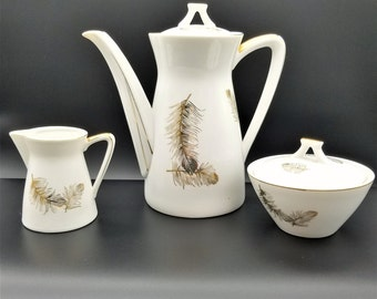 Rare Lefton China Gold Feathers Hand Painted Teapot, Creamer & Sugar Set - 634/635