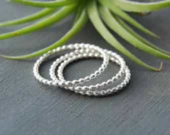 Beaded Stacking Rings, Stacking Rings, Silver Stacking Rings, Bead Rings, Small Rings, Layering Rings, Silver Rings