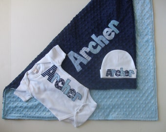 Baby Boy Coming Home Outfit - Personalized Baby Gown, Blanket & Hat for Boy - Take Home Hospital outfit - Minky Name Blanket - Custom Outfit