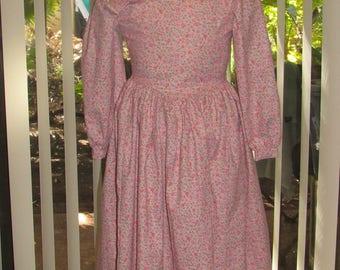 2 Pc 1800s Little House Prairie Pioneer Dress Bonnet Set for Girls
