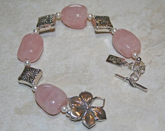 Pink Quartz Sterling Floral Bracelet