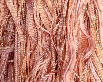 Hand Dyed Cotton and Viscose Thread Selection, One Off, No.43 Peach, Textile Art Supply, Hand Dyed Embroidery Threads, Variegated Threads