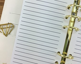 Personal Lined planner printed insert - line paper - lines - Filofax insert - lined planner page - Personal Wide
