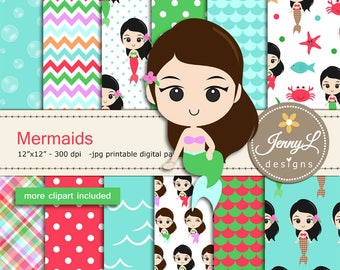 Mermaids digital papers and clipart SET,  Under the Sea, Seaweeds, scales, Bubbles for Digital Scrapbooking, birthday invitations Pla