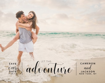 Let the Adventure Begin, Save the Date, Printable, Custom Save The Date Invitation, DIY Wedding Card