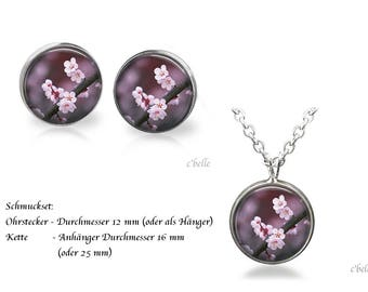 Jewelry Necklace and earrings-cherry blossoms-5