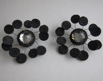 LINE VAUTRIN 1950 large mirror Talosel witch earrings. Rare. Collector's item.