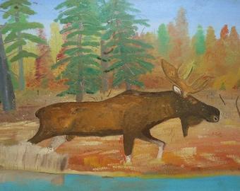vintage oil painting  folk art  Maine moose in landscape