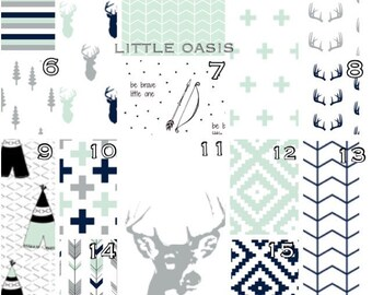 Custom Crib Bedding in Gray, Mint, Navy Woodland Design. Choose a crib sheet, skirt, bumper, changing cover, valance curtain or a set.
