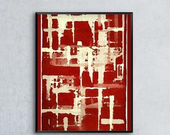Red Abstract Art, Abstract Art Print, Minimalist Wall Art, Modern Art Print, Gallery Wall, Abstract Wall Art, 12x16 16x20 18x24 24x32