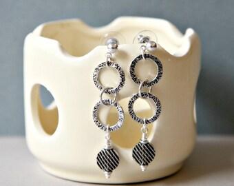 Antiqued Silver Circle Long Dangling Earrings