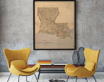 Louisiana Map - Map of Louisiana - Vintage Louisiana - Old Louisiana Map - Louisiana Art - Louisiana State Map - Louisiana Map Print-Antique
