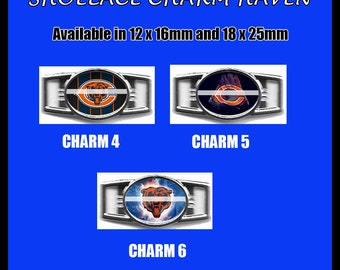 CHICAGO BEARS Shoelace Charm  Paracord Bracelet Charm Oval Charm 12 x 16mm or 18 x 25mm Charms