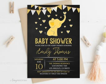 Elephant Baby Shower Invitation, Chalkboard Baby Shower Invitation, Yellow Elephant Invite, Gender Neutral, PERSONALIZED, Digital file, #A08