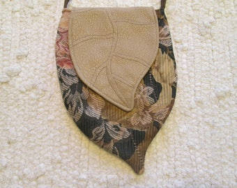 Elven Inspired Pixie Woodland Faux Leather Cross Body Cell Phone Bag with Leaf Flap