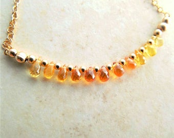 Gemstone Bar Necklace | Yellow Orange Sapphires | Sapphire Ombre Bar Necklace | Gemstone Bar Pendant | Gemstone Jewelry Gift | Gift For Her