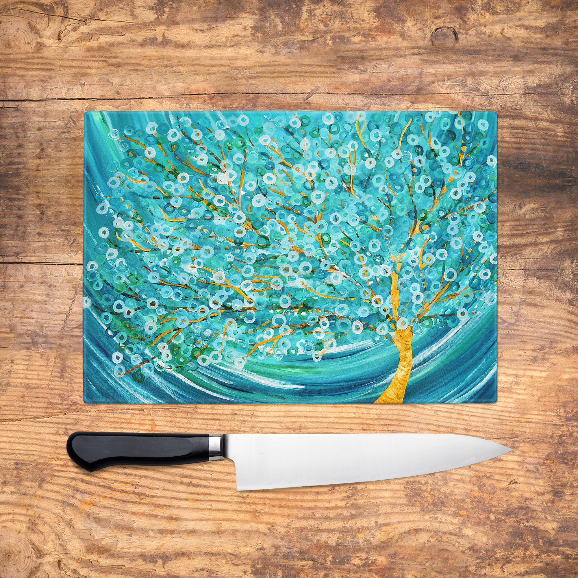 Teal Tree Glass Chopping Board Winter Tree Abstract Worktop