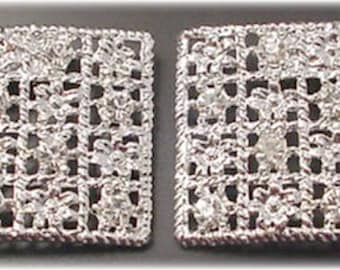 Silver Shoe Clips with Crystal Rhinestones and Flowers