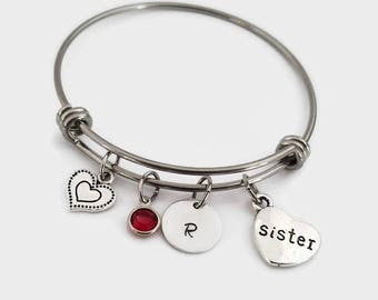 Sister bangle - Sister bracelet - Personalized bangle sister gift - Gift for sister jewelry - Sister jewelry - Adjustable bangle bracelet