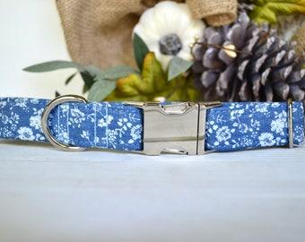 Denim Dog Collar, Floral Denim, Floral Dog Collar, Blue Dog Collar, 90's, Throwback, Girly Dog Collar, Silver Metal Buckle