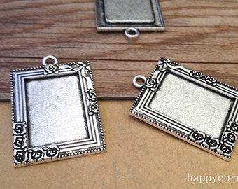 10pcs  Antique silver square Pendant tray Base 18mmx25mm