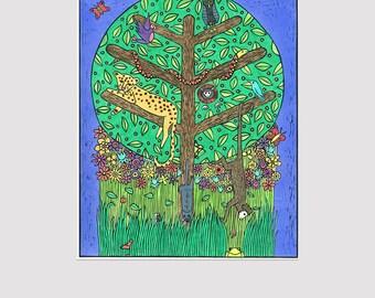 Safari relief print, animal linocut print, colourful print, limited edition, children's art, nursery wall art, African art print