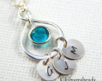 Personalized Mothers Necklace, Initial Necklace, Birthstone necklace, Infinity Necklace, Mothers Jewelry