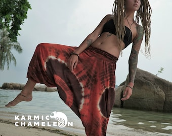 Harem Tie Dye Hippie Burnt Orange Brown Pants Loose Yoga Genie Gypsy Ladies Baggy Cotton Colourful Summer Festival Maternity India