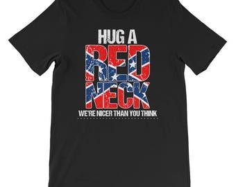 Hug A Red Neck Tshirt- Red-white and blue patriotic- American flag shirt-British Flag shirt