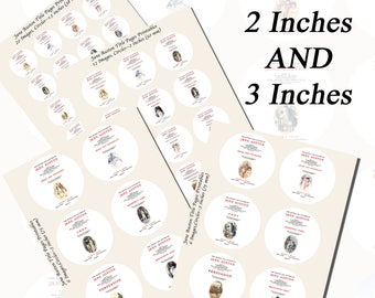 Jane Austen's Title Pages Printables, EXTRA LARGE CIRCLES, 1.5 inch, 2 inch, and 3 inch circles (38mm, 50mm, and 75 mm)