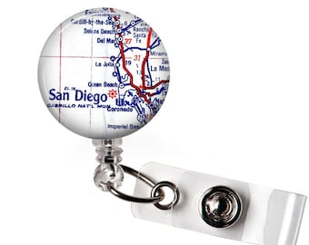 Retractable Id Badge Reel, San Diego Map Badge, Personalized Id Badge Reel Holder, Id Tag, Hospital Worker, A124