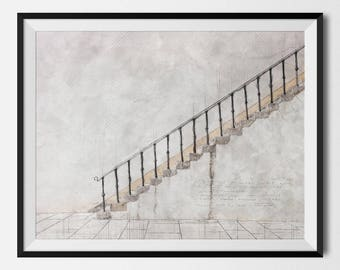 Modern Home Decor, Minimalistic Steps, Architectural Poster, Building Print, Modern Art, Architecture, Architect Gift, INSTANT DOWNLOAD