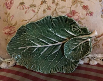Country Majolica Cabbage Leaf Serving Platter