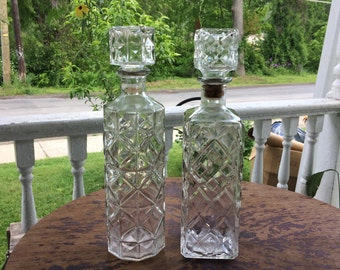 Antique Apothecary Decanturs - Pair of Hand Blown Pharmacy Bottles