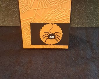 Handmade Halloween Card - Spider with Sentiment Inside