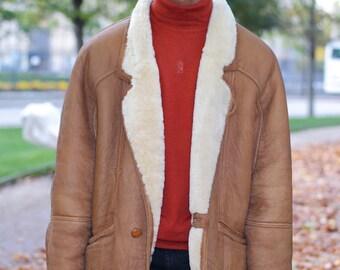 Man jacket coat in vintage sheep skin vintage 70s