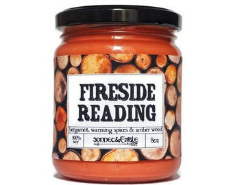 Fireside Reading Candle, Book Candle, Book by the Fire, Old Book Smell Soy Candle, Book Lover Gift, Fire Flame Candle, Library Book Smell
