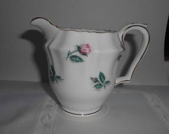 Vintage Crown Staffordshire Creamer White Rose Pattern Gilt Trim