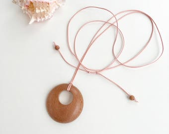 Rosewood pendant on pale pink cotton cord, adjustable long necklace, wooden pendant, wood, summer, beach, sister, daughter, girlfriend