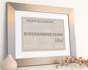 Personalised Pearl Anniversary Word Art