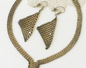 Vintage Whiting & Davis Mesh Necklace and Earrings