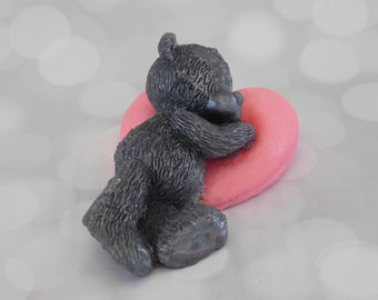 Bear Soap - Sleeping Bear Soap - Heart Soap - Valentines Day Soap - Romantic Soap - Decorative Soap - Novelty Soap - Valentines Day Favors