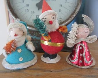 Vintage Spun Cotton Heads Christmas Trio  Bottlebrush Embellishments Made in Japan Holiday Decorations