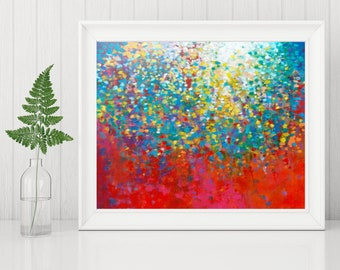 Abstract Landscape Painting Print - Art Printable - Digital Download Art Print - Abstract Art Print, Rainbow Colors Modern Art 8x10 11x14