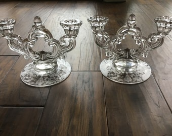 Glass CandleHolder, Pair, Etched, Cambridge Glass, Etched